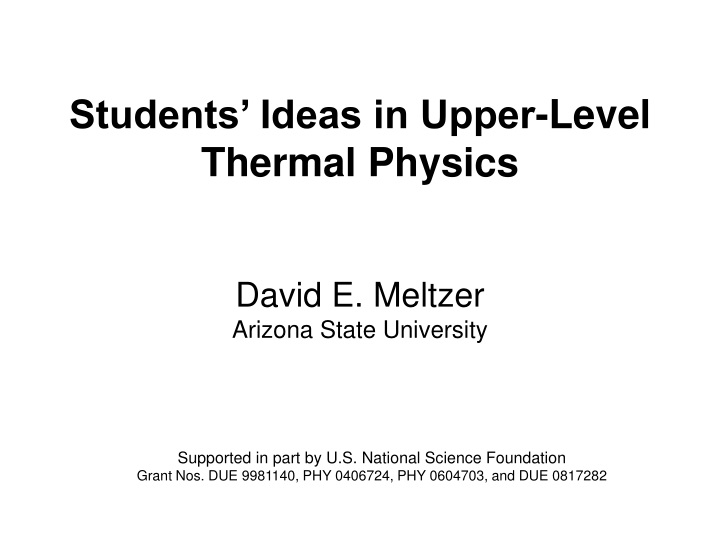 students ideas in upper level thermal physics n.