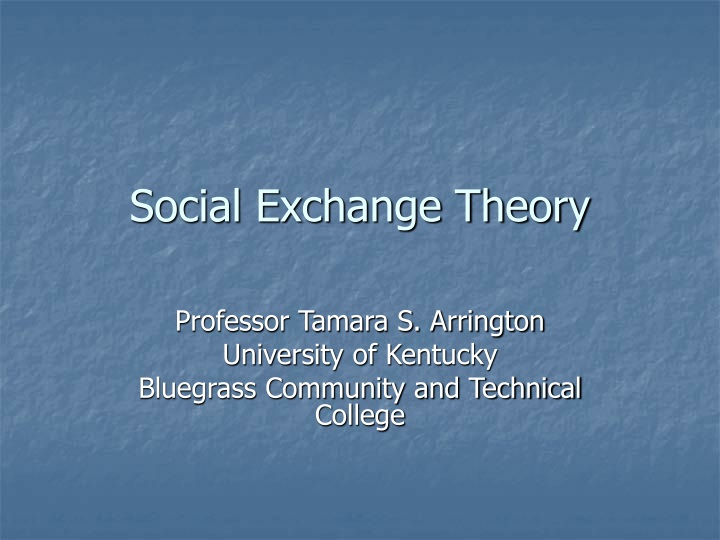 social exchange theory n.