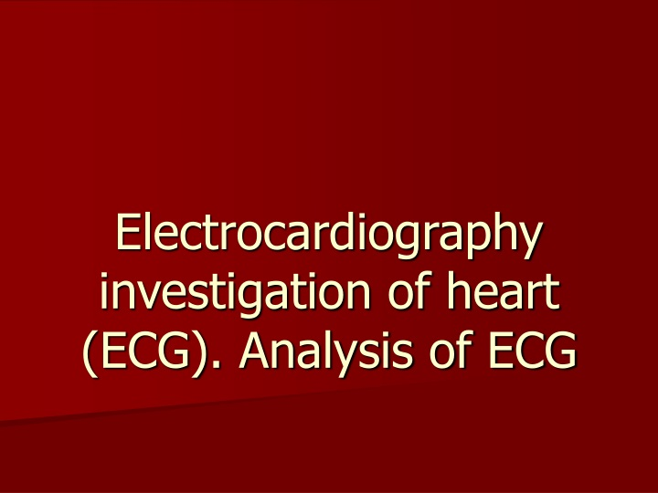 electrocardiography investigation of heart ecg analysis of ecg n.