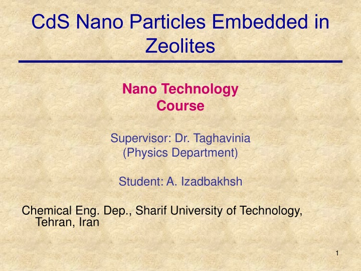 cds nano particles embedded in zeolites n.