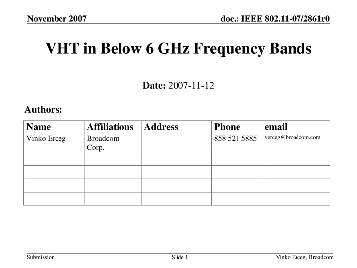 vht in below 6 ghz frequency bands n.