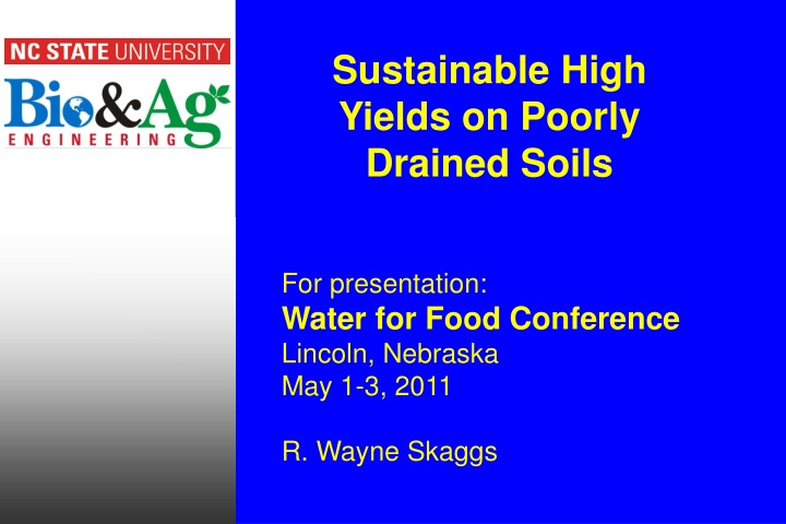 sustainable high yields on poorly drained soils n.