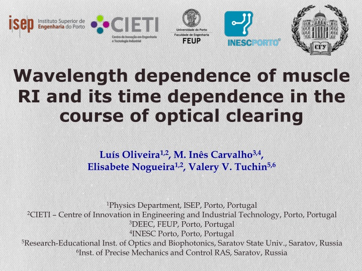 wavelength dependence of muscle ri and its time n.