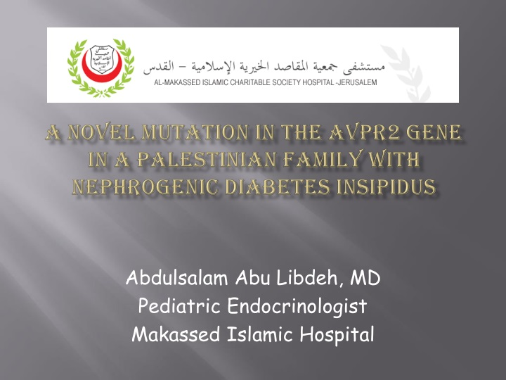 a novel mutation in the avpr2 gene in a palestinian family with nephrogenic diabetes insipidus n.