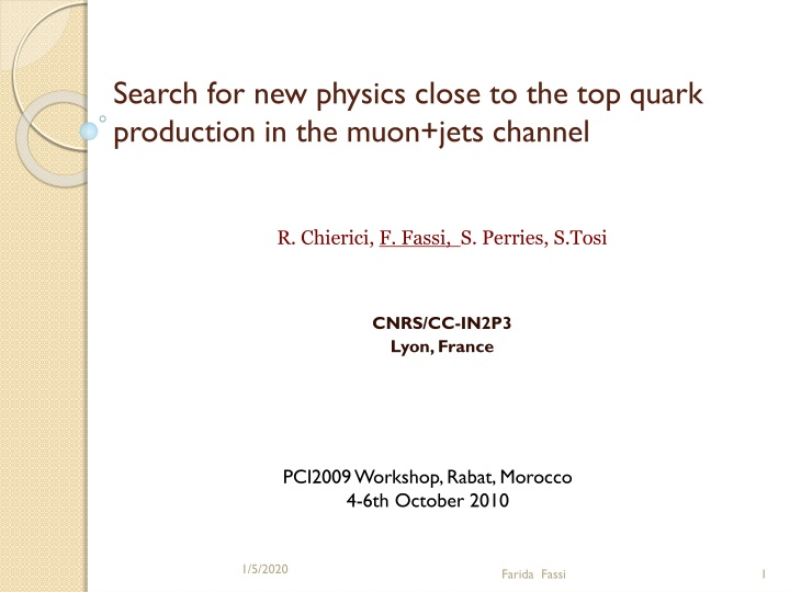 search for new physics close to the top quark production in the muon jets channel n.