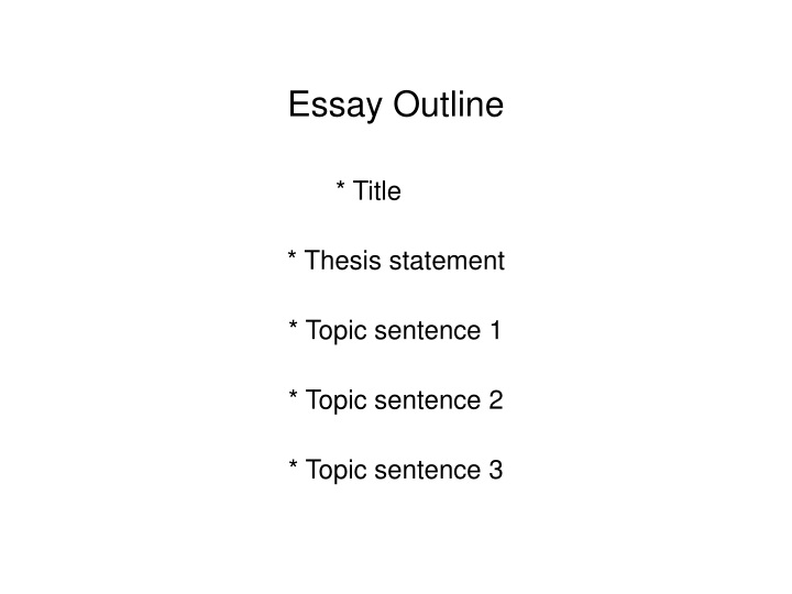 essay outline title thesis statement topic sentence 1 topic sentence 2 topic sentence 3 n.