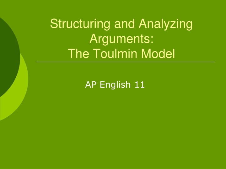 structuring and analyzing arguments the toulmin model n.