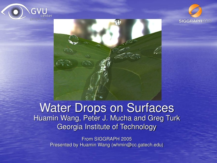 water drops on surfaces n.