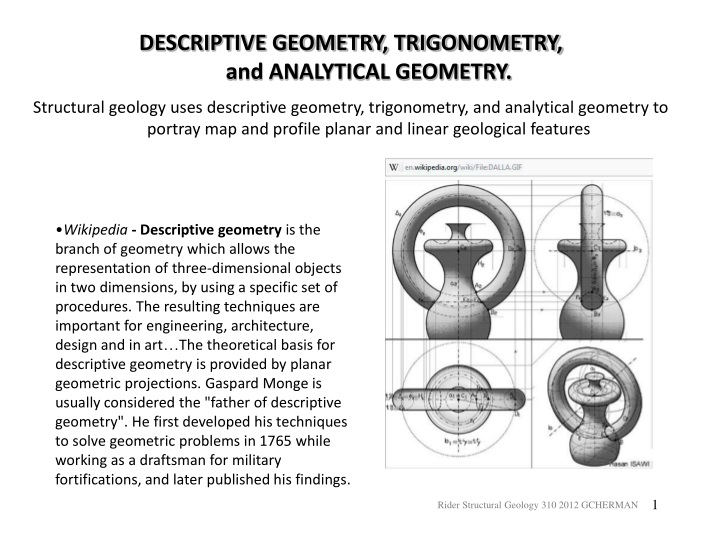 descriptive geometry trigonometry and analytical n.