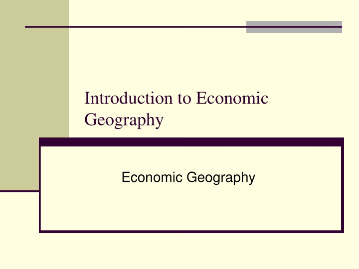 introduction to economic geography n.