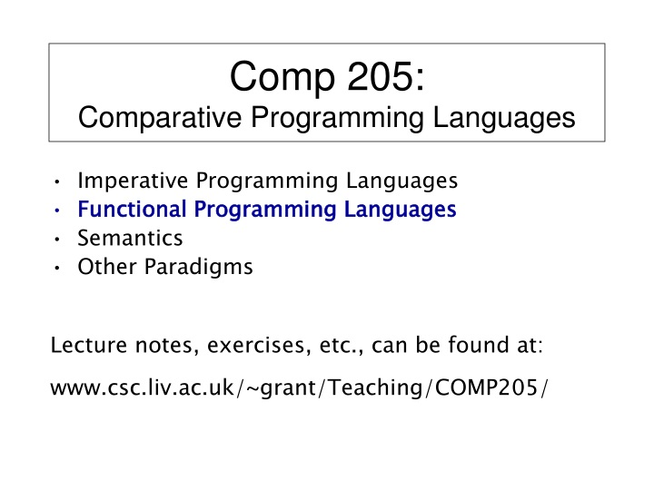 comp 205 comparative programming languages n.