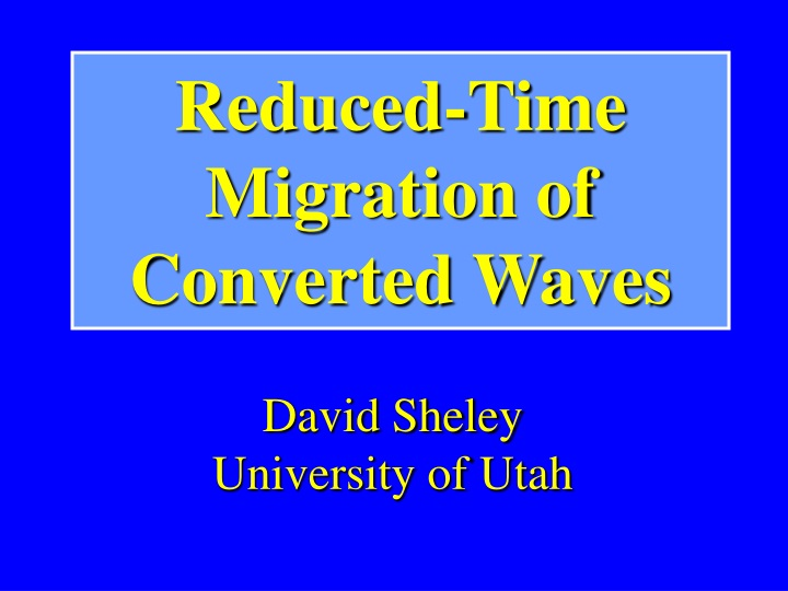 reduced time migration of converted waves n.