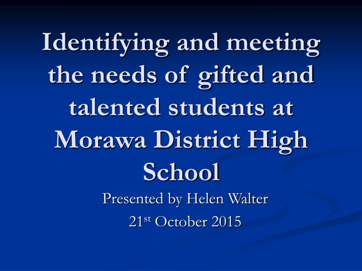 identifying and meeting the needs of gifted and talented students at morawa district high school n.