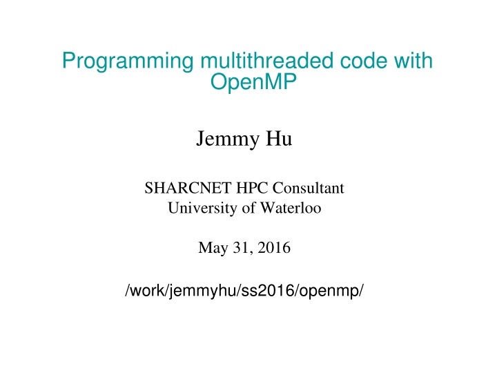 programming multithreaded code with openmp jemmy n.