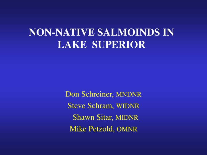 non native salmoinds in lake superior n.