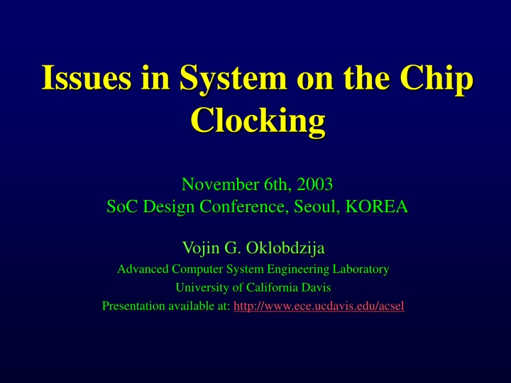 issues in system on the chip clocking november n.