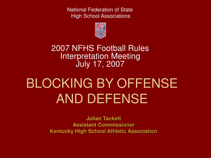 blocking by offense and defense n.