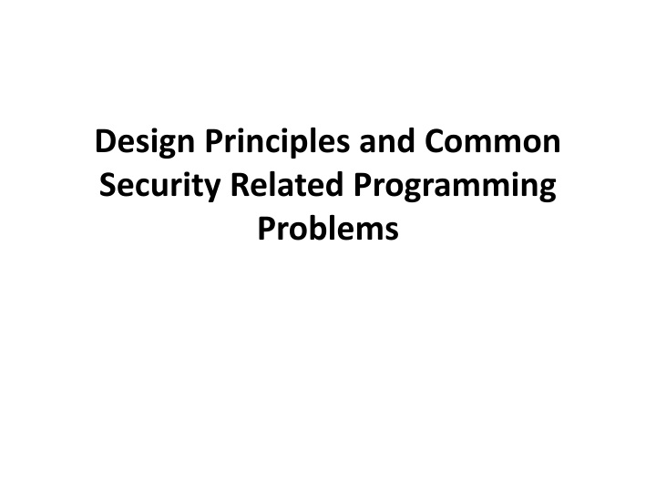 design principles and common security related programming problems n.