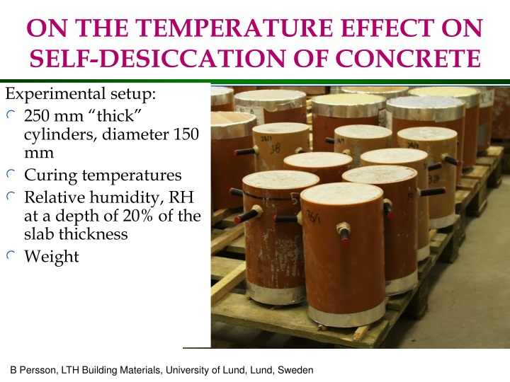 on the temperature effect on self desiccation of concrete n.