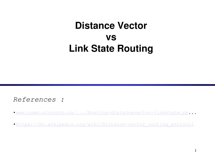 distance vector vs link state routing n.