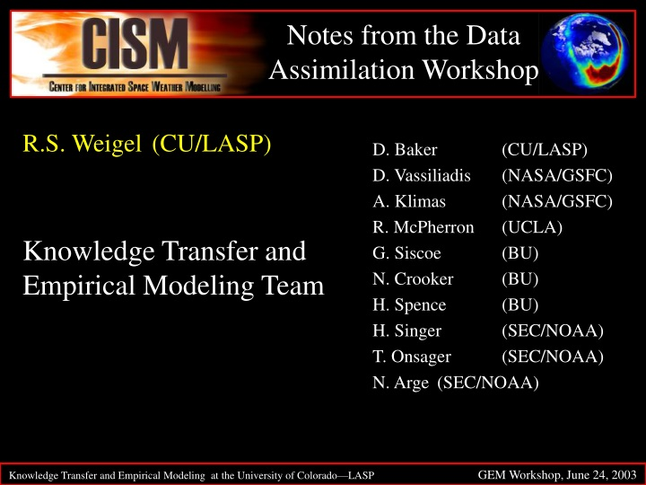 notes from the data assimilation workshop n.