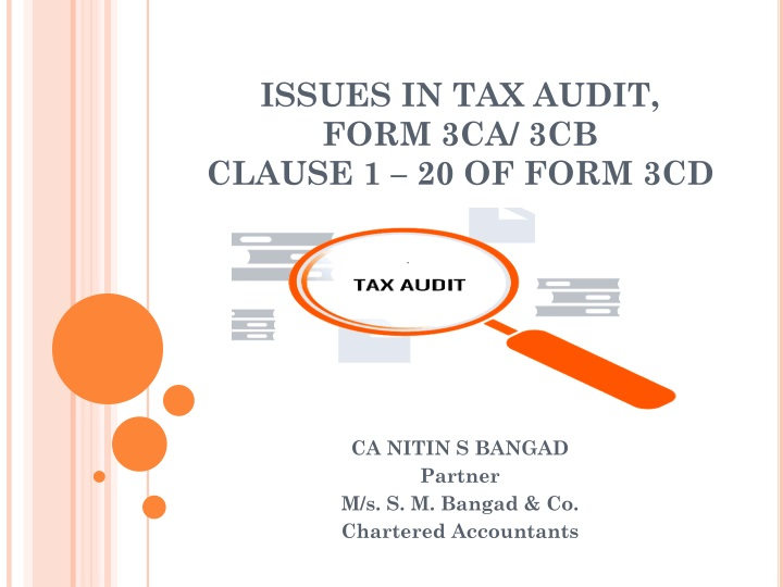 issues in tax audit form 3ca 3cb clause 1 20 of form 3cd n.