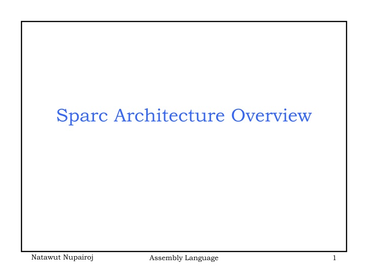 sparc architecture overview n.