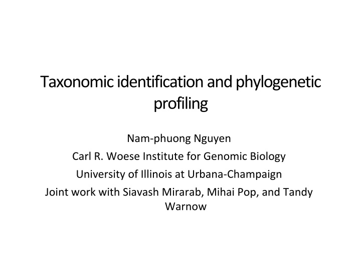 taxonomic identification and phylogenetic profiling n.