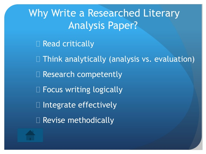 why write a researched literary analysis paper n.