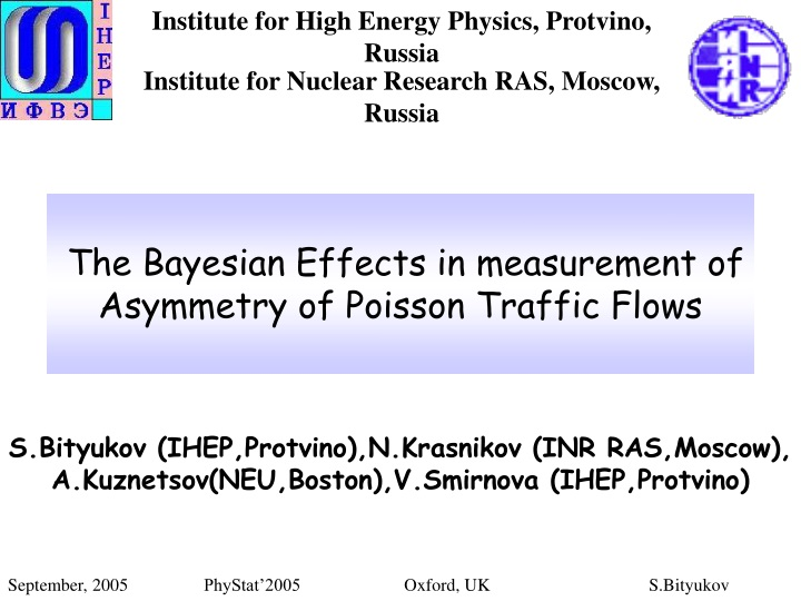 the bayesian effects in measurement of asymmetry of poisson traffic flows n.