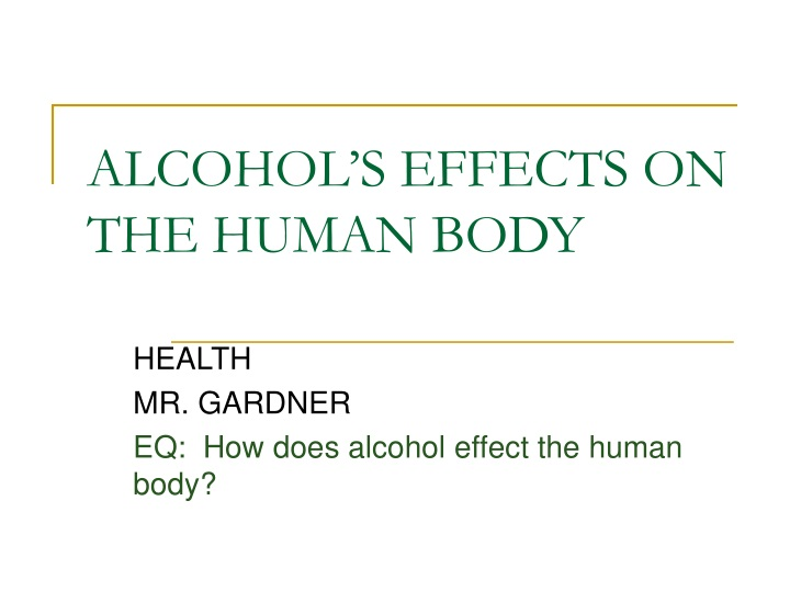 alcohol s effects on the human body n.