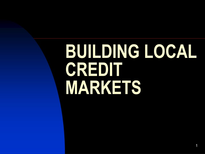 building local credit markets n.