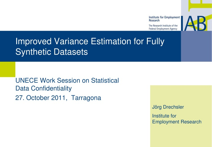 improved variance estimation for fully synthetic datasets n.