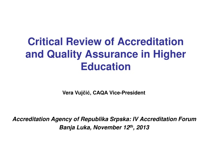 critical review of accreditation and quality assurance in higher education n.
