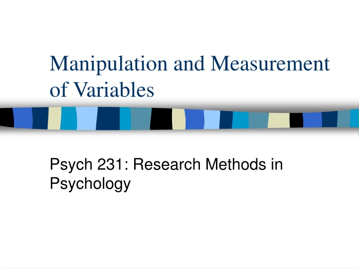manipulation and measurement of variables n.