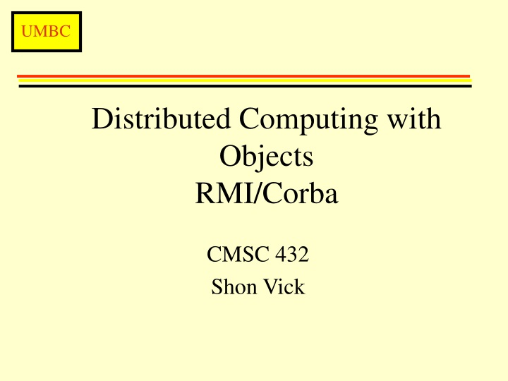 distributed computing with objects rmi corba n.