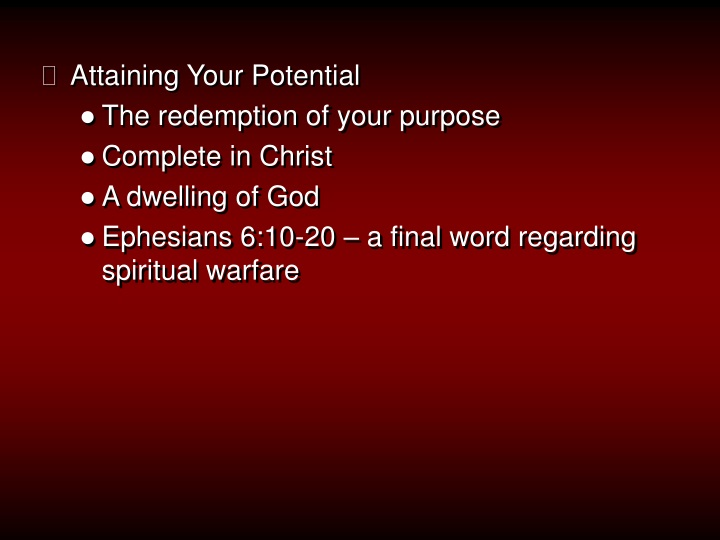 attaining your potential the redemption of your n.