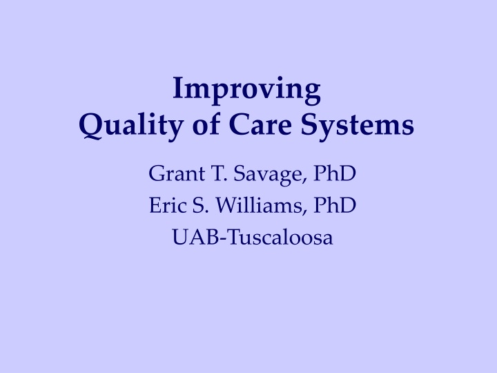 improving quality of care systems n.