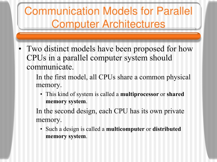 communication models for parallel computer architectures n.