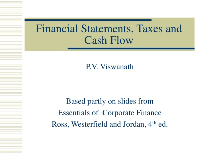 financial statements taxes and cash flow n.