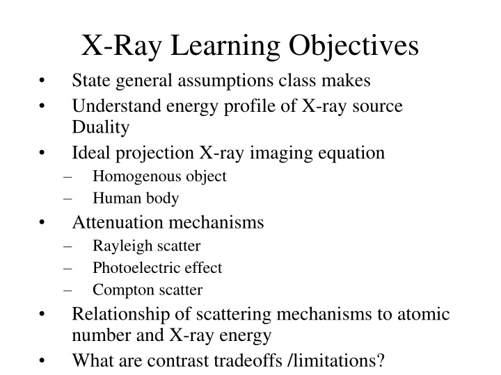 x ray learning objectives n.