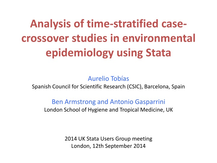 analysis of time stratified case crossover n.