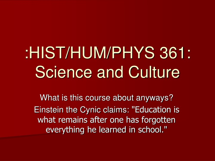 hist hum phys 361 science and culture n.