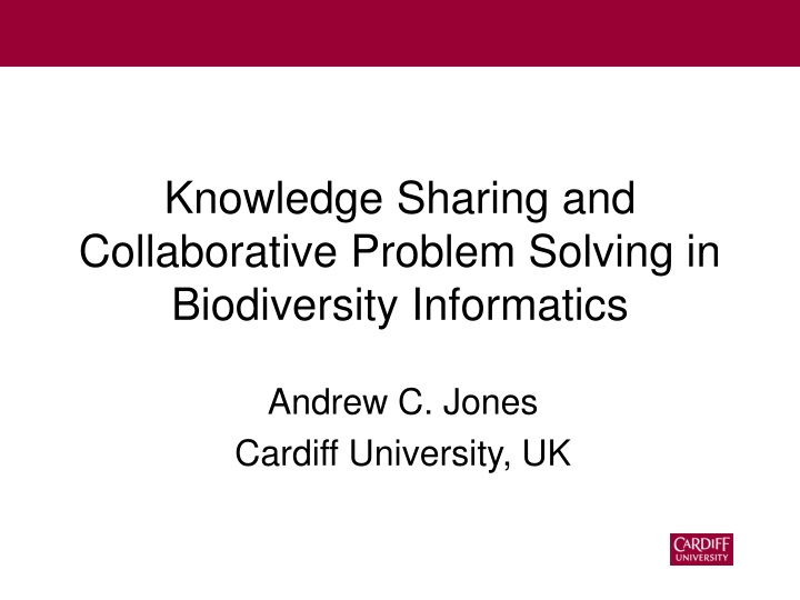 knowledge sharing and collaborative problem solving in biodiversity informatics n.