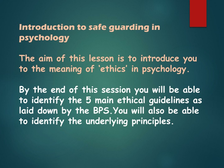 introduction to safe guarding in psychology n.