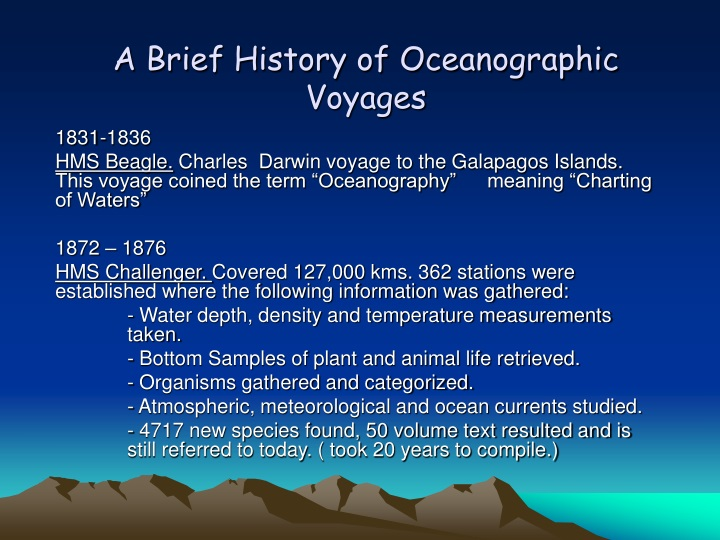 a brief history of oceanographic voyages n.