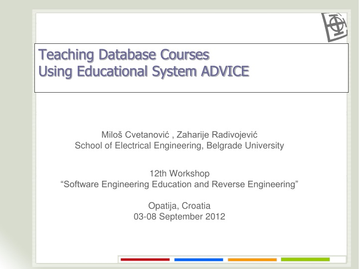 teaching database courses using educational system advice n.