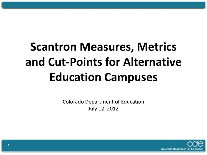scantron measures metrics and cut points n.