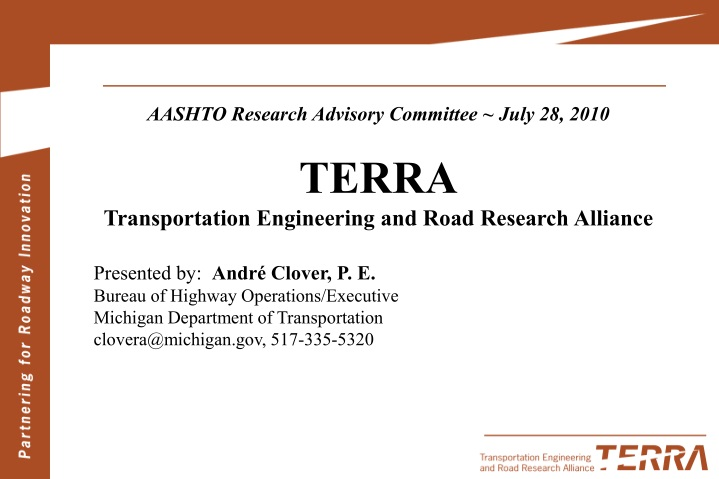 aashto research advisory committee july 28 2010 n.