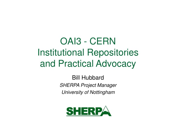 oai3 cern institutional repositories and practical advocacy n.
